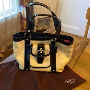 Coach Straw and Black Patent Leather Bag